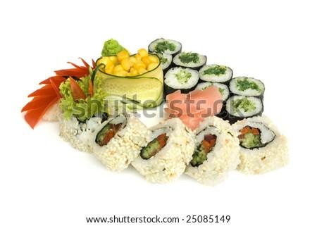 assortment of sushi isolated on white background - stock photo