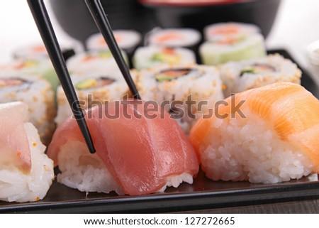 assortment of sushi maki roll - stock photo