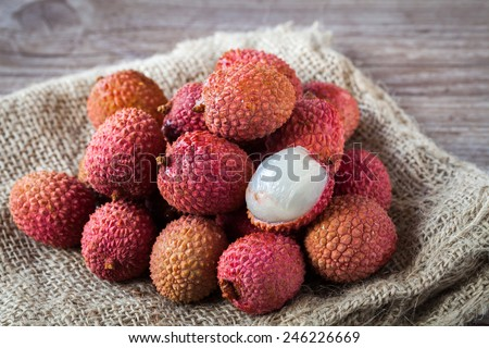Assortment of tasty and fresh litchi  exotic fruits - stock photo