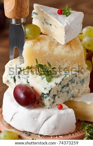 Assortment of tasty italian and french cheese.