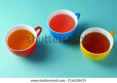 Assortment of tea on color background - stock photo