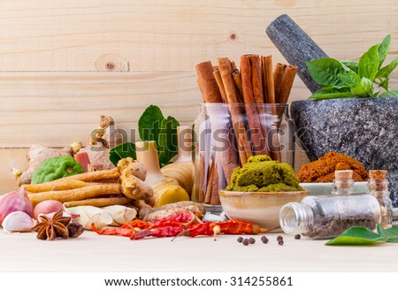 Assortment of Thai food Cooking ingredients and Paste of thai popular food red curry and green curry. - stock photo