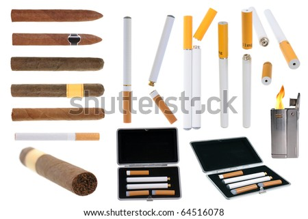 Assortment of tobacco products electronic cigarette and lighter isolated on white background - stock photo