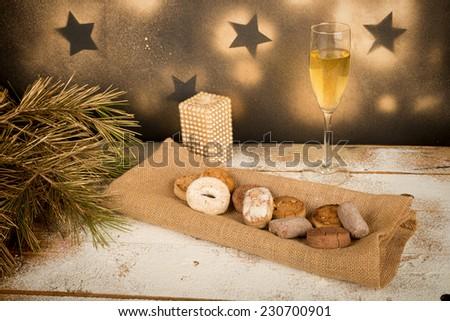 Assortment of traditional homemade Spanish Christmas sweets - stock photo
