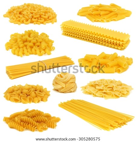 Assortment of uncooked dry pasta of differing types isolated on a white background - stock photo
