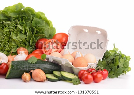 assortment of vegetable and eggs - stock photo