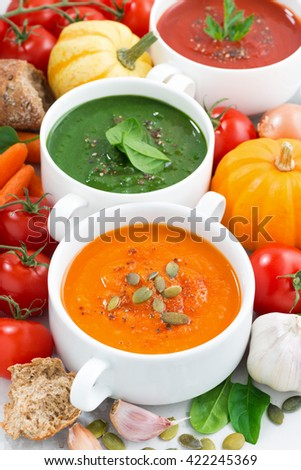 assortment of vegetable cream soups and ingredients, vertical, top view