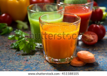 assortment of vegetable juices, closeup