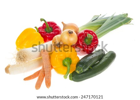 Assortment of vegetables isolated on white - stock photo
