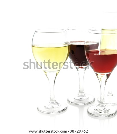 Assortment Of Wine Glasses ,Close Up,On White Background