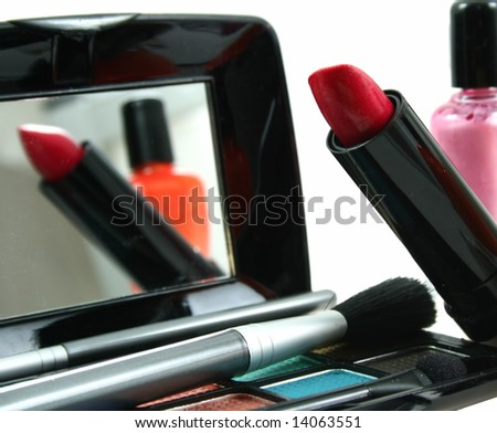 Assortment of women's cosmetics as sample for my beauty and fashion images - stock photo