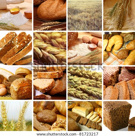 assortment set of baked bread