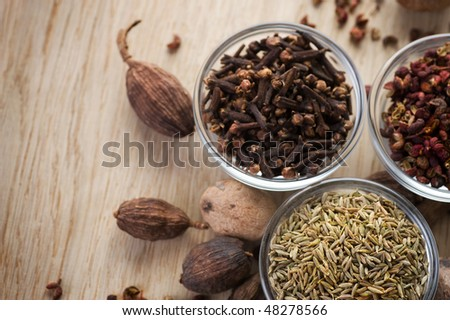 Assortment Spices closeup - stock photo