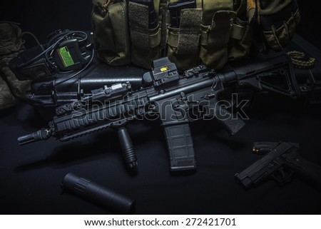 assult rifle and equipment