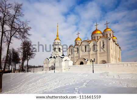 Assumption cathedral  at Vladimir in winter, Russia. Constructed between 1158�¢??1160