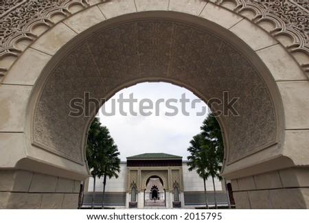 Astaka Morocco or Moroccan Pavilion or Islamic Garden Pavilion. - stock photo