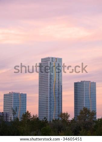 Astana buildings at dusk view - stock photo