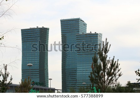 Astana. July 5, 2011. Kazakhstan. Modern architecture of the capital of the Republic of Kazakhstan. City landscape. Summer.