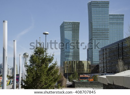 Astana. Kazakhstan. April 03. The buildings Astana, Kazakhstan on 17 April, 2016.