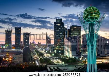 ASTANA, KAZAKHSTAN - JULE 15, 2014: Nurzhol Boulevard, monument Baiterek. Height Baiterek monument is 97 meters. Ball diameter is 22 meters. - stock photo