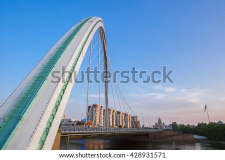Astana, Kazakhstan - May 28, 2016: People walk on pavement bridge, the residents.