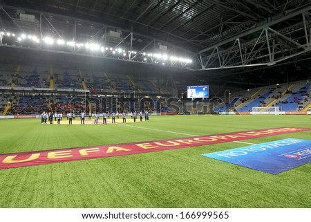 ASTANA, KAZAKHSTAN NOV-28: Interior view of the Astana Arena during the Europa League Anthem on November 28, 2013 in Astana, Kazakhstan.