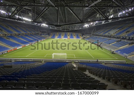 ASTANA, KAZAKHSTAN NOV-28: Interior view of the empty Astana Arena on November 28, 2013 in Astana, Kazakhstan. Astana arena is the home base for european games of the football team Shakhter Karagandy.