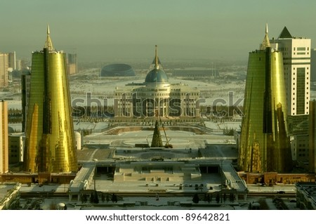 Astana Kazakhstan Presidential Palace in Winter - stock photo