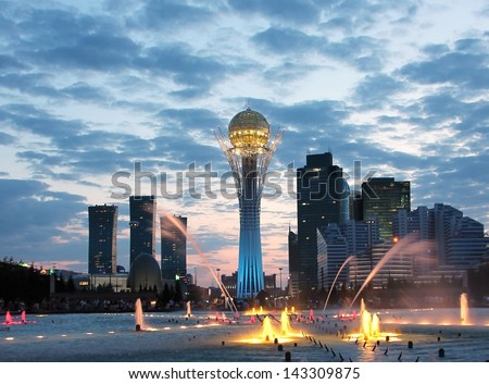 Astana Kazakhstan sightseeing by night - stock photo