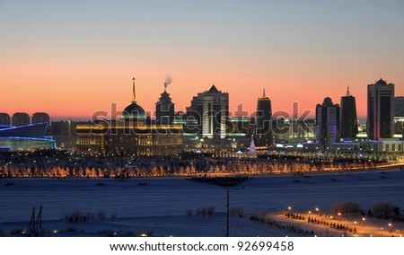 Astana Kazakhstan winter evening skyline - stock photo
