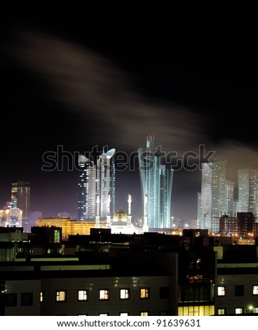 Astana winter night - stock photo