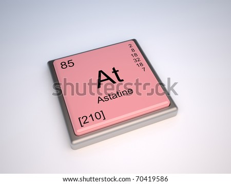 Astatine chemical element of the periodic table with symbol At - IUPAC - stock photo