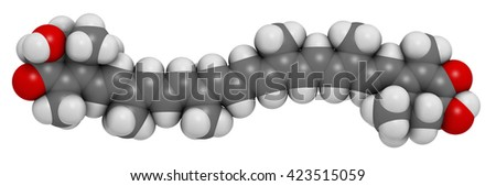 Astaxanthin pigment molecule. 3D rendering.  Carotenoid responsible for the pink-red color of salmon, lobsters and shrimps. Used as food dye (E161j) and antioxidant food supplement.   - stock photo