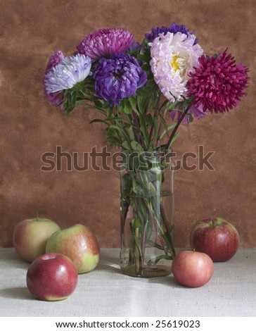 aster and apple - stock photo