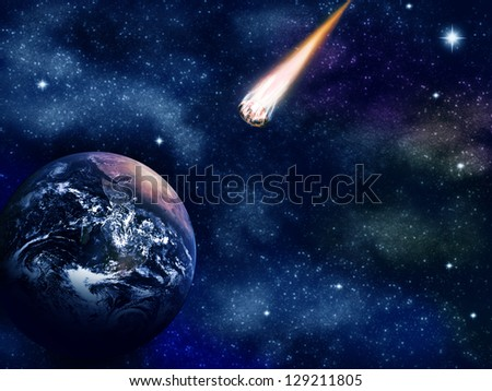 Asteroid and Earth (Earth image from www.nasa.gov) - stock photo
