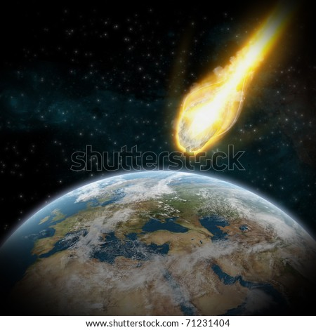 Asteroid and Earth : Meteor impact - stock photo