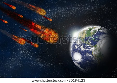 Asteroid and earth planet on starfield abstract background. Illustration meteor impact. - stock photo