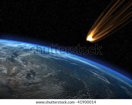 Asteroid and planet Earth - stock photo