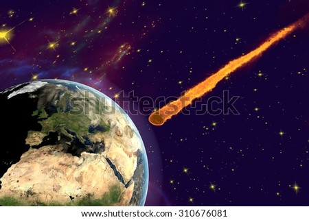 Asteroid approaching to the Earth on background with stars and galaxies, elements of this image furnished by NASA. Space background. Fantastic background - stock photo