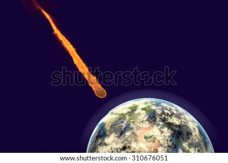 Asteroid approaching to the Earth on background with stars, elements of this image furnished by NASA. Space background. Fantastic background - stock photo
