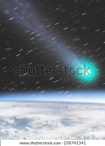 Asteroid/Comet/Meteor impact on Earth. Comet is photographed through my telescope. Elements of this image (Earth) is furnished by NASA. - stock photo