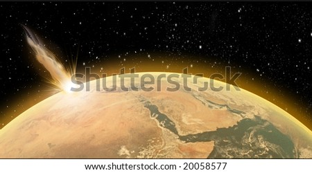 Asteroid crash on Planet Earth - stock photo