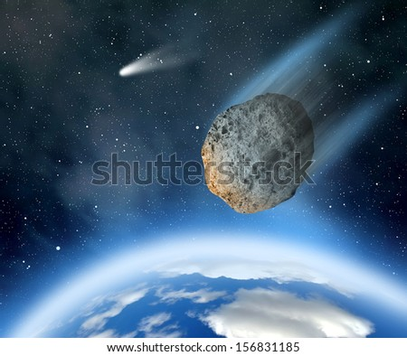 "Asteroid falling on Earth. ""Elements of this image furnished by NASA"". - stock photo"