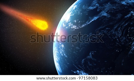 Asteroid falling on Earth illustration