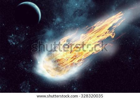 Asteroid flies in dark space - stock photo
