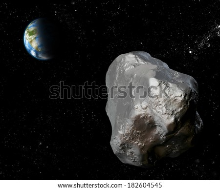 Asteroid fly by the Earth. Artificial image - stock photo