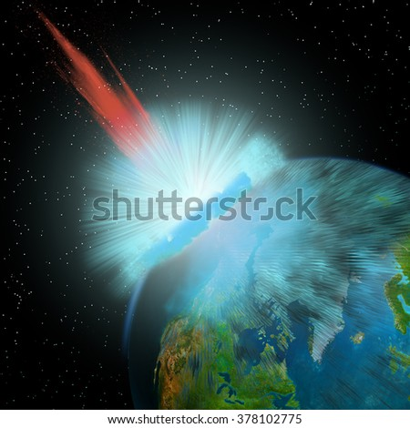 Asteroid hits Earth - An asteroid hits the Earth near the North Pole causing enormous damage to surrounding areas. - stock photo