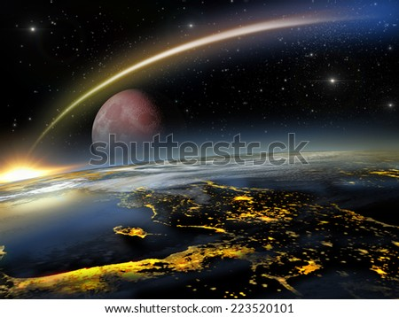 Asteroid hitting Earth at a lower altitude with a rising red moon  - stock photo
