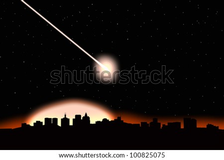 Asteroid impact on a city-image - stock photo