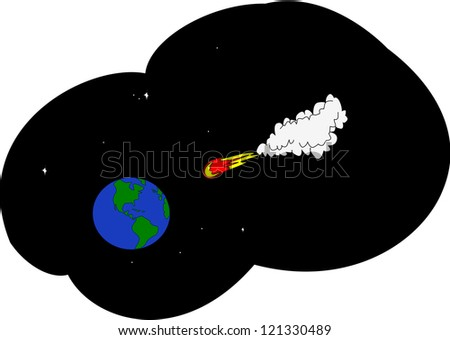 Asteroid in space travels in the direction of the Earth.
